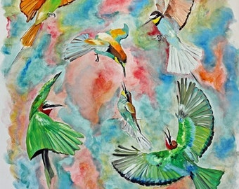 originaloil painting artbirds lovers art - Oil Painting