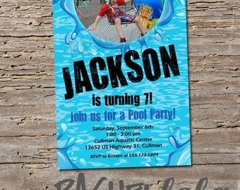 Picture Pool Party invitation, printable, digital print