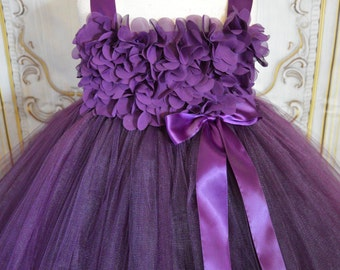 Sugar Plum chiffon hydrangea Flower girl tutu dress