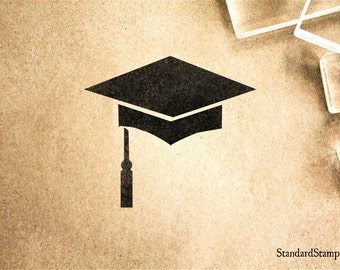 Graduation Hat Rubber Stamp - 2 x 2 inches