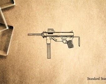 Machine Gun Rubber Stamp - 2 x 2 inches