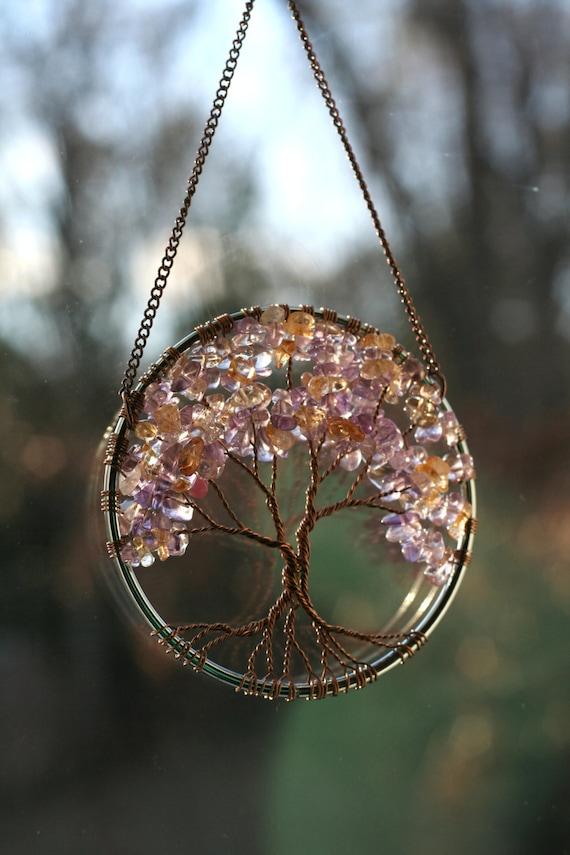 Suncatcher Tree Of Life Ametrine And Citrine Gemstone On