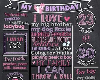 Pink Purple First Birthday Chalkboard, Purple 1st Birthday Chalkboard, Pink Birthday Board, Princess 1st Birthday Chalkboard
