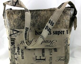 """ecru handbag """"Carpe diem"""", used leatherette."""