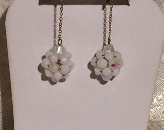 Vintage Earrings White Iridescent Beads Gold Tone Metal Screw Backs Chain Drop Dangle Art Deco Retro Statement Wedding Bridal Formal Jewelry