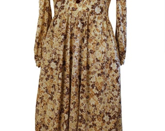 Vintage 1970's Japanese Day Dress / Apple Girl / Casual Lolita Prairie Style / Yoke Bodice / Ivory Brown Floral / Harajuku Tokyo Fashion