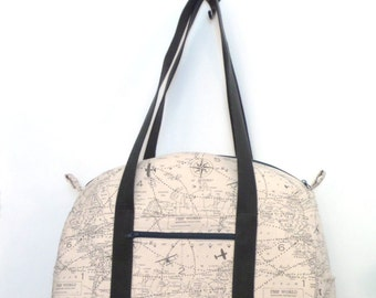 Tote Bag / Carry on Bag / Diaper Bag / Gym Bag / Weekend Bag / Overnignt Bag / Weekender / Travel Bag  / Natural and Gray Air triffice