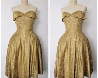 Vintage 1950s Dress | 1950s Adele Simpson Dress | 1940s Gold Brocade Dress | Sweetheart Neckline Dress | XS - S