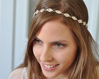 Bridal headband, rhinestone headband, bridal hair piece, wedding headband, wedding hair piece, bridal ribbon headband