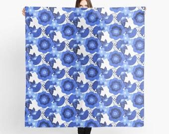 Blue Flowers Scarf - The Flower Blues - Sheer Fashion Scarf