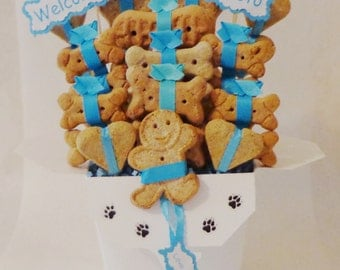 Dog biscuit treat dog gift basket, personalized dog gift, Dog Birthday Gift, new dog gift, new puppy gift, dog get well gift
