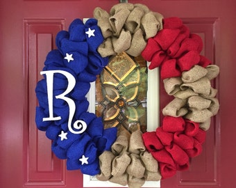Patriotic Burlap Wreath with monogram, American Flag Initial Wreath, Support the Troops Yellow Ribbon, Red White and Blue