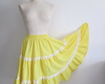 Malco Modes Square Dance Yellow Full Sweep Cotton Blend Skirt- XL