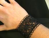 Fabric Cuff Bracelet - VINTAGE FLOWERS - Lace Wrist Cuff - Black Satin Bracelet - Arm Band - Tattoo Coverup - Designer Jewelry