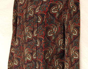 Vtg Paisley Secretary Blouse Womens Top Long Sleeve 12 Prep Polyester Pullover Disco M