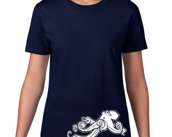 Octopus TShirt, Funny Tshirt, Ocean Animal Tee, Octopus T Shirt, Funny T Shirt, Nautical Tshirt, Ringspun Cotton