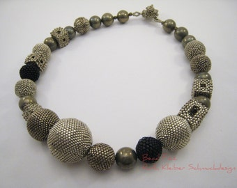 Beaded Beads Necklace, Pewter, Pyrite and Black, Beadwoven Jewelry with Pyrite Beads, Short Necklace with Bead Balls, Pewter colored Pearls