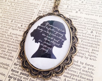 Handmade Northanger Abbey Quote Silhouette Necklace // Jane Austen Cameo // Pride and Prejudice // Sense and Sensibility