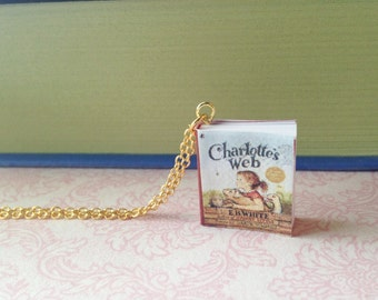 Handmade Charlotte's Web Tiny Miniature Book Necklace // E. B. White Book // Children's Book