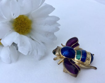 SALE! Vintage Gold Colorful Enamel Bee Brooch Vintage Costume Jewelry Gift for Her