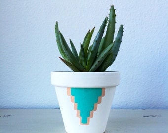 "4"" Terra Cotta Cactus Pot - Hand painted Aquamarine & White Flower Pot - Succulent Pot - Terracotta Pot - Desert Collection"