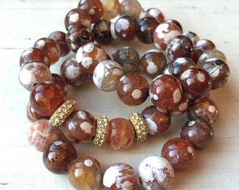 Mixed Brown Agate Gemstone Beaded Bracelet Stack with Pave Gold Crystal Roundels