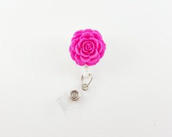 Hot Pink Rose - Flower Badge Reel - Nurse Badge Holder - RN Badge - Retractable ID Badge - Teacher Badge Reel - ID Badge Holder - Badge Clip