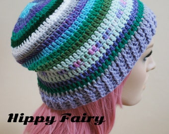 Sea shades slouch hat with Purple and Green stripes and Lilac band