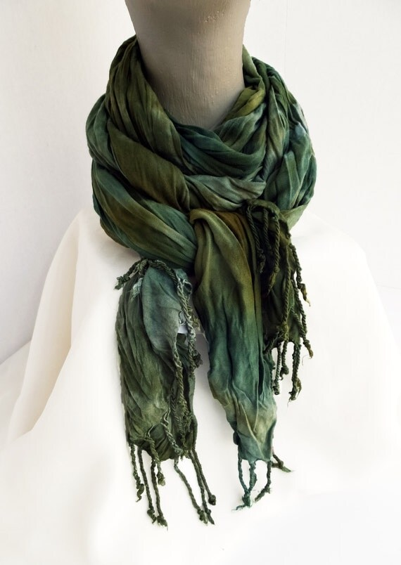 """Green rayon scarf - crinkle scarf - spring scarf - fringe scarf - forest green, olive green, avocado -  earth tones - hand dyed - 20""""x70"""""""