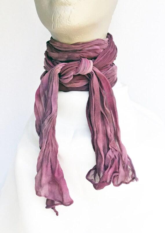"Purple skinny scarf - crinkle scarf - dusty purple, violet, lavender - skinny scarf - crinkle chiffon - silk chiffon - hand dyed- 7"" x 75"""