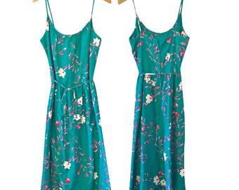 70s hawaiian sundress / vintage malia honolulu green cotton floral dress / tropical hippie size medium large