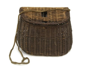 French Fishing Creel. Vintage French Wicker Fishing Basket.