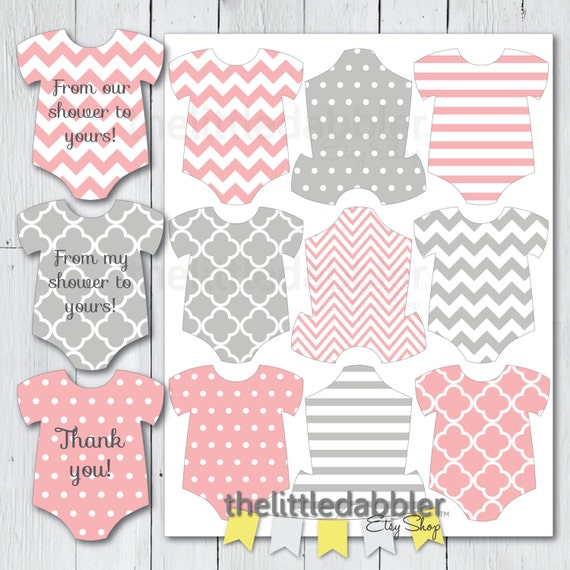 Baby Shower Gift Tags Printable Free: Pink Grey Mini Baby Shower Onesie Tags Baby Shower Rompr