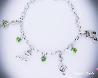 Music Note Charm Bracelet, Quaver, Semiquaver, Green drops, music bracelet for girls who LOVE music