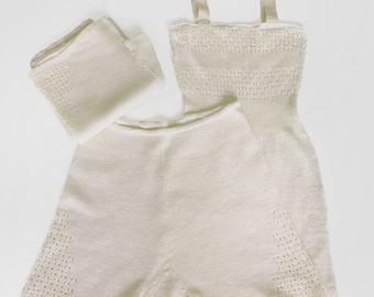 Cream 1940s Panties & Camisole Knit Lingerie Set