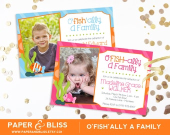 O'FISH-ally A Family - Adoption Party Invitation - Blue and Orange, Pink and Orange - Gotcha Party Invitation