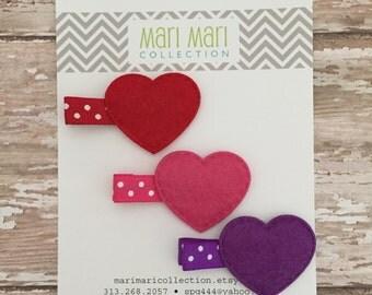 Valentines Hair Accessory - Girls Heart Clip - Valentines Party Favor - Heart Hair Clip - Red Hair Clip - Pink Hair Clip - Purple Hair Clip