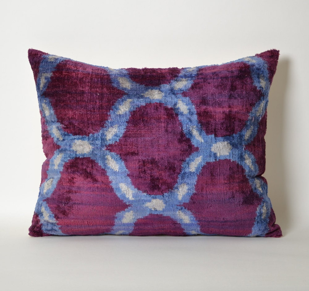 Purple Velvet Pillow Cover Uzbek Ikat Purple Blue Pillow