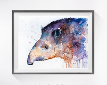 Tapir watercolor painting print, Tapir art,animal art, illustration, animal watercolor, animal painting, Tapir illustration,