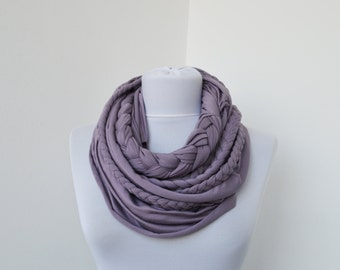 Lavender Loop Scarf Infinity Jersey Scarf Partially braided Circle Scarf Scarf Nekclace