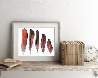 Watercolor Feather Study Print, Cardinal Feathers, Nature Wall Art, Black and Red Feather, Giclee Print, Bohemian Decor, Botanical Print