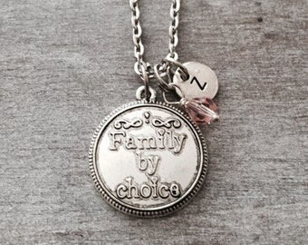 Family By Choice,  Step Daughter, Step Child, adopting, adopted child, Silver Necklace, Charm Necklace, Gifts, Keepsake,