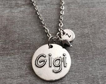 Gigi Necklace , Silver Plated Necklace, Gigi  Gift,  Gigi Jewelry, Gigi Charm, Personalized Necklace, Initial charm, Charm Necklace, Gift