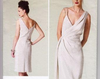 2012 Vogue V1289 Mock Wrap Dress With Deep V Neckline, Shoulder Straps, And Side Drape - Bust 32.5 34 36 38 40 - Pamella Roland Designer