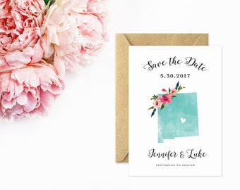 New Mexico Save The Date, State Save the Date in Turquoise Watercolor