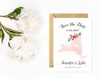 New York Save The Date, State Save the Date in Pink Watercolor
