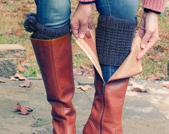 Knit boot cuffs wool - leg warmers - knit leg warmers gray, leg warmers women, leg warmers wool - leg warmers with pom pom.