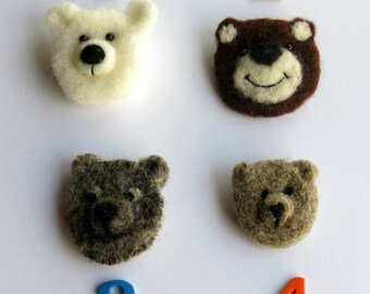 Needle felted brooch - bear needle felted brooch - fibre pin - needle felted pin - animal  brooch - clothing accessory - uk seller