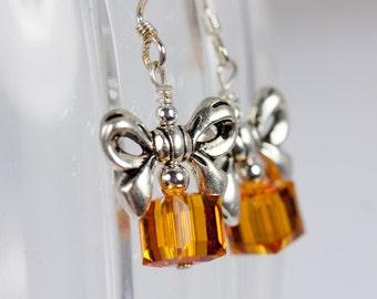 Swarovski Topaz Crystal Present Earrings on Sterling Silver, Topaz Crystal Earrings, Topaz Presents, Christmas Present Earrings