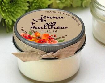 Wedding Favor Candles - Fall Bouquet Label Design - Fall Wedding Favors -- Personalized Wedding Favors -- Set of 12 - 4 oz